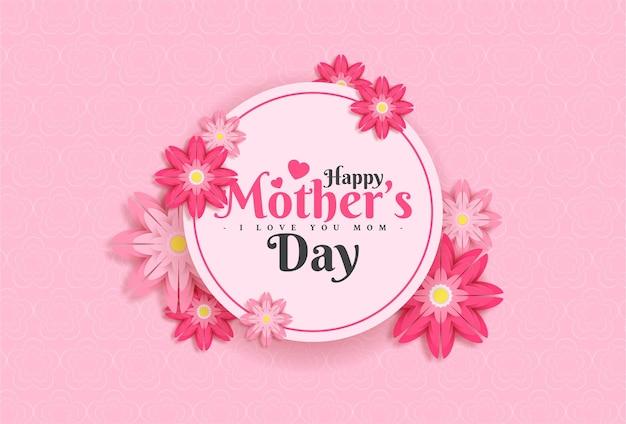 Design de cartão de feliz dia das mães com flor e letra de tipografia em fundo rosa