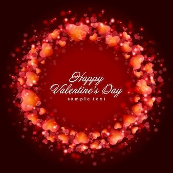 Design de cartão de feliz dia dos namorados e moldura vermelha de corações