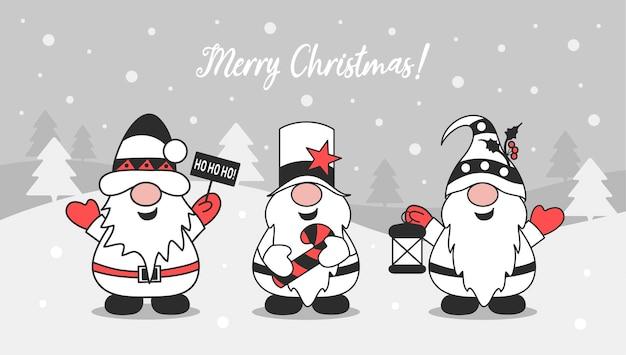Design de cartão de feliz natal bonitos gnomos de natal férias de inverno