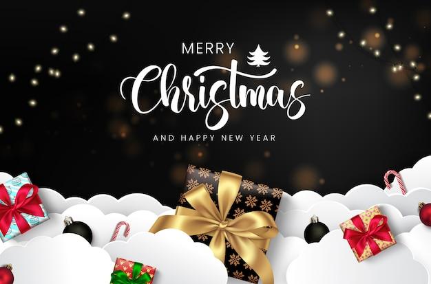 Design de cartão de feliz natal com pacotes de presentes bonitos.