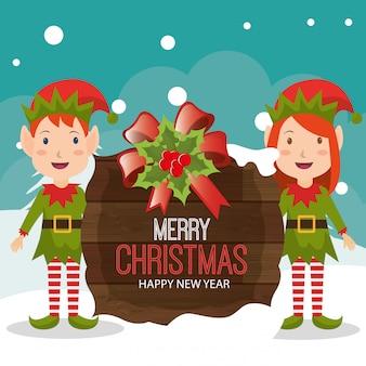 Design de cartão de feliz natal dos desenhos animados