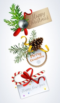 Design de cartão de feliz natal. etiquetas de presente de natal