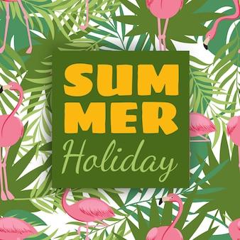 Design de cartão de férias de verão com plantas tropicais e flamingo
