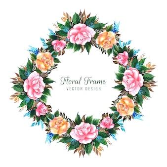 Design de cartão de flor decorativa de casamento
