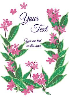 Design de cartão de flor rosa.