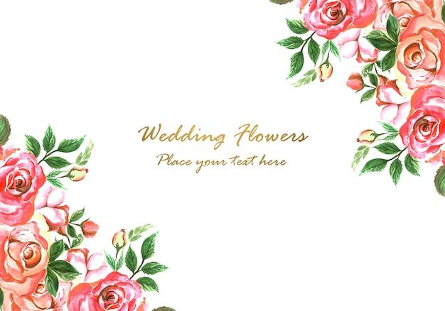 Design de cartão de flores decorativas de convite de casamento