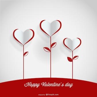 Design de cartão de flores do coração de papel