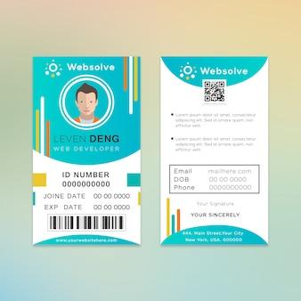Design de cartão de identificação do desenvolvedor da web