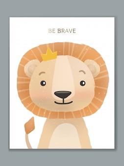 Design de cartão de ilustração animal dos desenhos animados de luxo para comemoração de aniversário, boas-vindas, convite para evento ou saudação. rei leão.