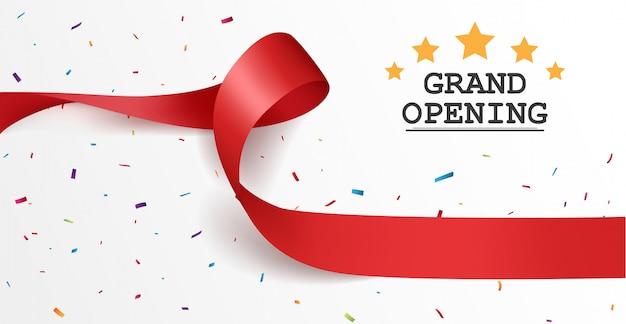 Design de cartão de inauguração com fita vermelha e confetes coloridos