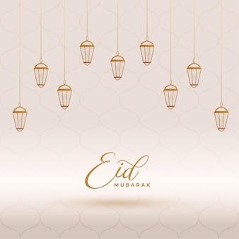 Design de cartão de lanternas decorativas eid mubarak
