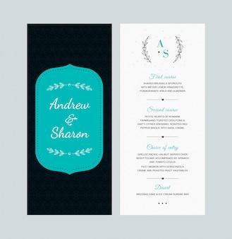Design de cartão de menu de casamento