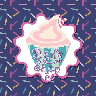 Design de cartão de menu vintage elegante para loja de cupcakes ou restaurante
