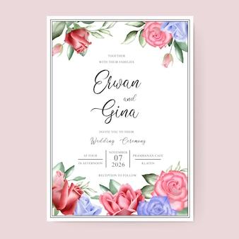 Design de cartão de modelo de convite de casamento com aquarela floral e folhas