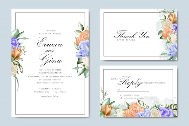 Design de cartão de modelo de convite de casamento com aquarela floral