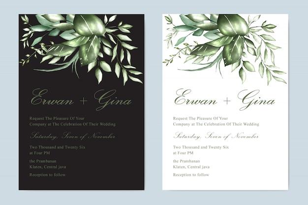 Design de cartão de modelo de convite de casamento em aquarela