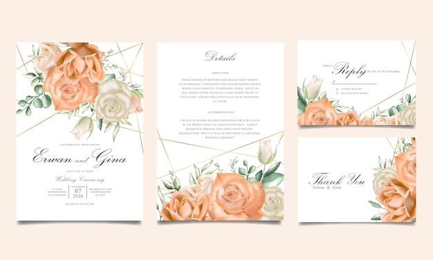 Design de cartão de modelo de convite de casamento floral aquarela