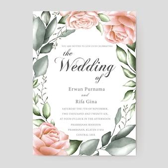 Design de cartão de modelo de convite de casamento floral