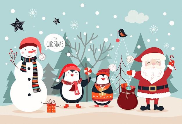 Design de cartão de natal, cartaz / banner com caracteres sazonais