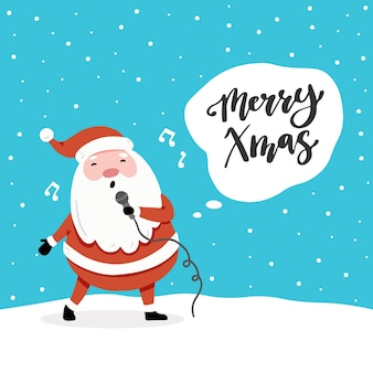 Design de cartão de natal com desenhos animados do personagem de papai noel, elementos de design de mão desenhada, lettering qoute merry xmas.