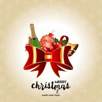 Design de cartão de natal com design elegante e luz de fundo dourado