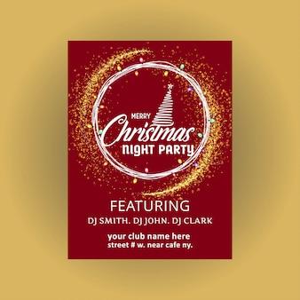 Design de cartão de natal com design elegante e luz de fundo vector