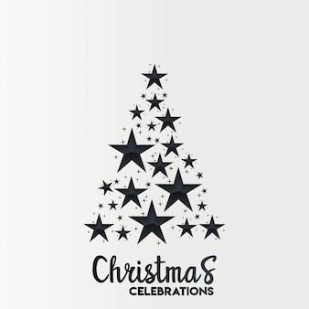 Design de cartão de natal com design elegante e luz de fundo