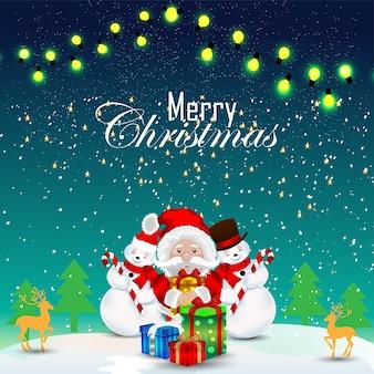 Design de cartão de natal com papai noel criativo e decorações com presente