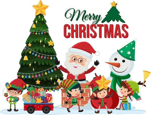 Design de cartão de natal com papai noel e duendes