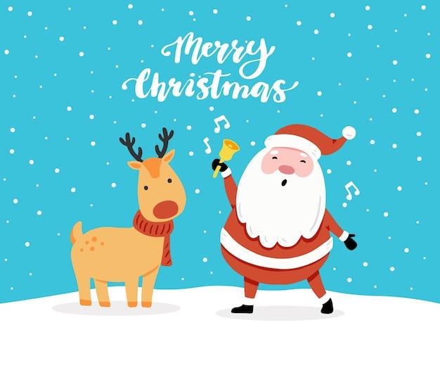 Design de cartão de natal com personagem de desenho animado de rena, elementos de design de mão desenhada, lettering qoute merry xmas.