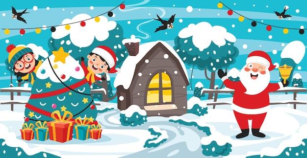 Design de cartão de natal com personagens de desenhos animados