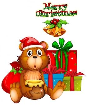 Design de cartão de natal com urso e presentes
