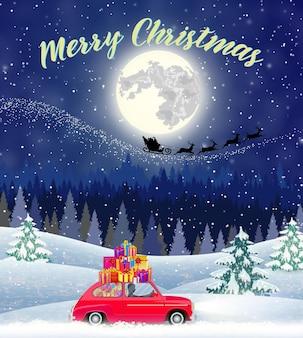 Design de cartão de natal de carro com árvore no topo