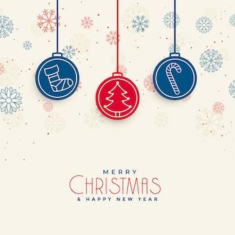 Design de cartão de natal feliz docrative com elementos de natal