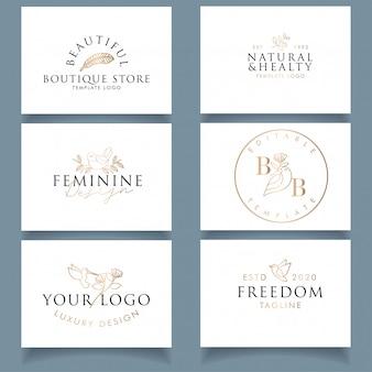 Design de cartão de negócios de luxo moderno com logotipo de pássaro feminino editável
