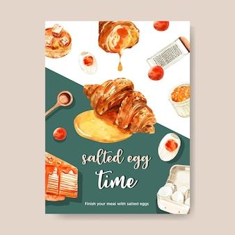 Design de cartão de ovo salgado com colher medidora, croissant, ilustração torta aquarela.