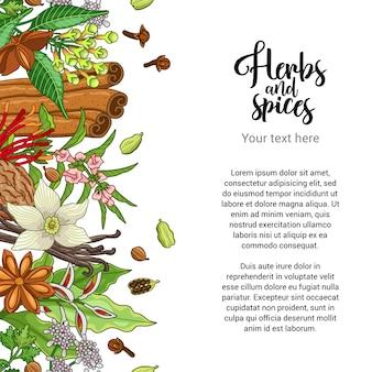 Design de cartão de padaria com especiarias e ervas