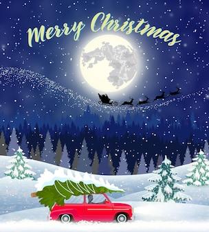 Design de cartão de paisagem de natal de carro retrô com árvore no topo. fundo com a lua e a silhueta do papai noel voando em um trenó. conceito de saudação ou cartão postal, ilustração vetorial