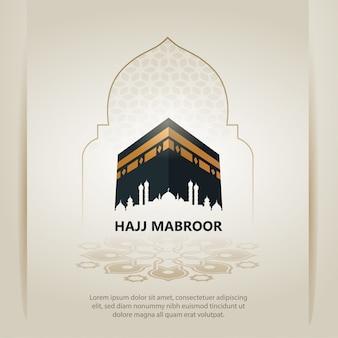 Design de cartão de peregrinação de hajj islâmico com santa kaaba