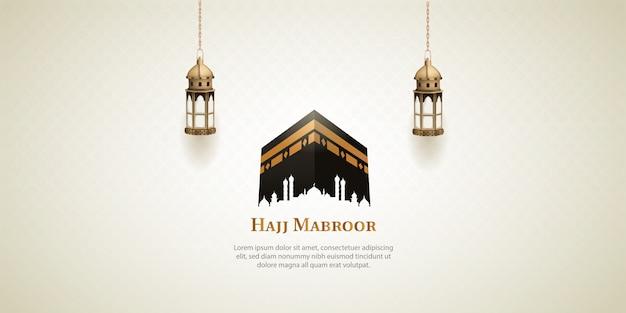 Design de cartão de peregrinação do hajj islâmico com caaba sagrada e lanters