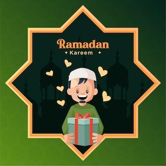 Design de cartão de ramadan kareem com um homem segurando uma caixa de presente