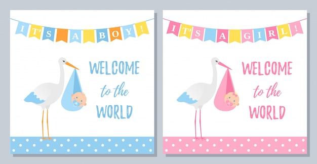 Design de cartão de repetição de chuveiro de bebê. conjunto