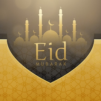 Design de cartão de saudação bonito do festival eid com decoração dourada