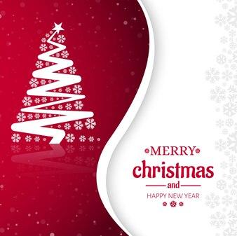 Design de cartão de saudação de árvore de Natal feliz