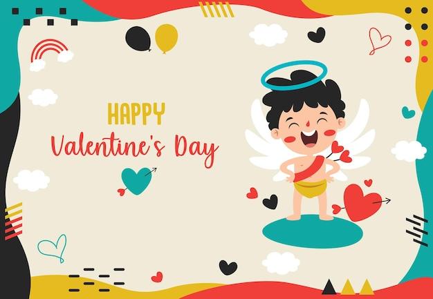 Design de cartão de saudação de dia dos namorados com personagem de desenho animado