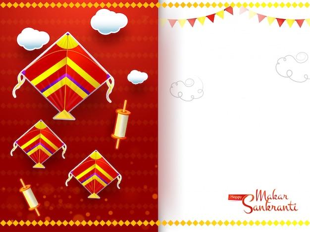 Design de cartão de saudação makar sankranti decorado com pipas, carretel