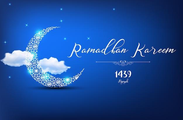 Design de cartão de saudação ramadan kareem sobre fundo azul