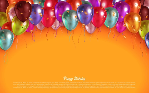 Design de cartão de texto de feliz aniversário com balões coloridos e confetes.