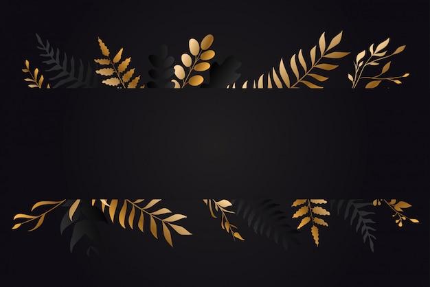 Design de cartão de vegetação floral ouro