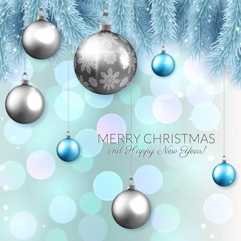 Design de cartão de vetor de natal, enfeites brilhantes e ramos de abeto